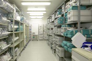 Hospital indoor storage room.